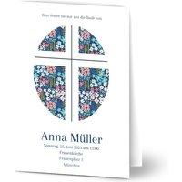 Einladungskarten Taufe, glänzendes feinstpapier, standard umschläge gestalten, Fotokarte (1 Foto), Kreuz, Blumen, A5, klappkarte, Optimalprint