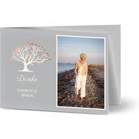 Trauerkarten Danke, glänzendes feinstpapier, standard umschläge gestalten, Fotokarte (1 Foto), Blätter, Baum, grau, A6, klappkarte, Optimalprint