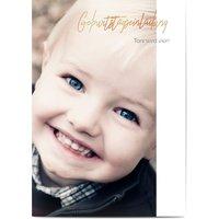 Einladungskarten Geburtstag, seidenmattes feinstpapier, standard umschläge, kupferfolie gestalten, Fotokarte (1 Foto), A6, flach, Optimalprint