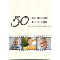 Einladungskarten Geburtstag, glänzendes feinstpapier, standard umschläge gestalten, 3 Fotos, 50, Kamera, Film, Photo Stream, A5, flach, Optimalprint