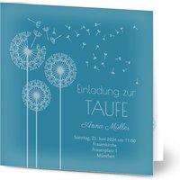 Einladungskarten Taufe, glänzendes feinstpapier, standard umschläge gestalten, Löwenzahn, blau, Klassisch, quadratisch, klappkarte, Optimalprint