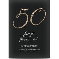 Einladungskarten Geburtstag, glänzendes feinstpapier, standard umschläge gestalten, Fotokarte (1 Foto), 50, schwarz, A6, flach, Optimalprint