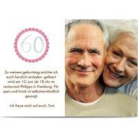 Einladungskarten Geburtstag, seidenmattes feinstpapier, standard umschläge, silberfolie gestalten, Fotokarte (1 Foto), 60, A6, flach, Optimalprint