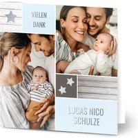 Dankeskarten Geburt, seidenmattes feinstpapier, standard umschläge, silberfolie gestalten, 3 Fotos, Karte, quadratisch, klappkarte, Optimalprint
