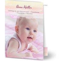 Einladungskarten Taufe, glänzendes feinstpapier, standard umschläge gestalten, 2 Fotos, Pinsel, Gehrinschlag > , A6, klappkarte, Optimalprint