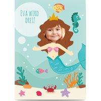 Einladungskarten Geburtstag, glänzendes feinstpapier, standard umschläge gestalten, Fotokarte (1 Foto), Tier, Blasen, Fisch, A6, flach, Optimalprint