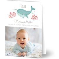 Einladung zur Taufe, glänzendes feinstpapier, standard umschläge gestalten, Fotokarte (1 Foto), Junge, weiß, modern, A6, klappkarte, Optimalprint