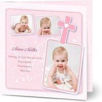 Einladungskarten Taufe, glänzendes feinstpapier, standard umschläge gestalten, 3 Fotos, Rahmen, Mädchen, quadratisch, klappkarte, Optimalprint