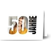 Einladungskarten Geburtstag, glänzendes feinstpapier, standard umschläge gestalten, 2 Fotos, 50, große 50, Nummer, A6, klappkarte, Optimalprint