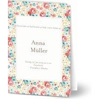 Einladungskarten Taufe, glänzendes feinstpapier, standard umschläge gestalten, Fotokarte (1 Foto), Blumen, vintage, A5, klappkarte, Optimalprint