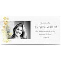 Einladungskarten Geburtstag, seidenmattes feinstpapier, standard umschläge, goldfolie gestalten, Fotokarte (1 Foto), Panorama DL, flach, Optimalprint