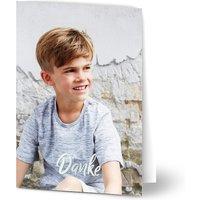 Dankeskarten Kommunion, seidenmattes feinstpapier, standard umschläge, silberfolie gestalten, Fotokarte (1 Foto), A6, klappkarte, Optimalprint