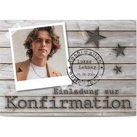Einladungskarten Konfirmation, glänzendes feinstpapier, standard umschläge gestalten, Fotokarte (1 Foto), Stern, Sterne, A6, flach, Optimalprint