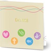 Dankeskarten Kommunion, seidenmattes feinstpapier, standard umschläge, goldfolie gestalten, Taube, Fisch, quadratisch, klappkarte, Optimalprint