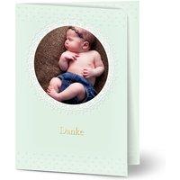 Dankeskarten Taufe, seidenmattes feinstpapier, standard umschläge, kupferfolie gestalten, Fotokarte (1 Foto), Junge, A6, klappkarte, Optimalprint