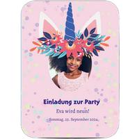 Einladungskarten Geburtstag, glänzendes feinstpapier, standard umschläge, abgerundete ecken gestalten, Fotokarte (1 Foto), A6, flach, Optimalprint