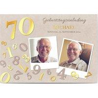 Einladungskarten Geburtstag, seidenmattes feinstpapier, standard umschläge, goldfolie gestalten, 2 Fotos, 70, Bastelpapier, A6, flach, Optimalprint