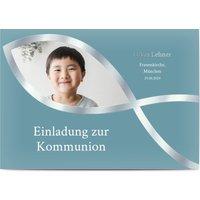 Einladungskarten Kommunion, seidenmattes feinstpapier, standard umschläge, silberfolie gestalten, Fotokarte (1 Foto), Blasen, A6, flach, Optimalprint