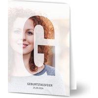 Einladungskarten Geburtstag, glänzendes feinstpapier, standard umschläge gestalten, Fotokarte (1 Foto), 21, 30, 40, A6, klappkarte, Optimalprint