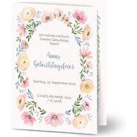 Einladungskarten Geburtstag, glänzendes feinstpapier, standard umschläge gestalten, Fotokarte (1 Foto), Blumen, A6, klappkarte, Optimalprint