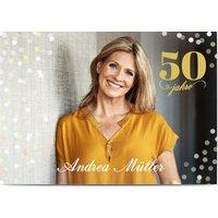 Einladungskarten Geburtstag, glänzendes feinstpapier, standard umschläge gestalten, Fotokarte (1 Foto), 50, Kalligrafie, A6, flach, Optimalprint