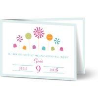 Einladungskarten Geburtstag, glänzendes feinstpapier, standard umschläge gestalten, Mädchen, blau, modern, A6, klappkarte, Optimalprint