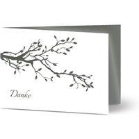 Trauerkarten Danke, glänzendes feinstpapier, standard umschläge gestalten, Fotokarte (1 Foto), Zweig, Baum, weiß, A6, klappkarte, Optimalprint