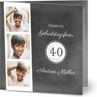 Einladungskarten Geburtstag, glänzendes feinstpapier, standard umschläge gestalten, 3 Fotos, 40, grau, modern, quadratisch, klappkarte, Optimalprint