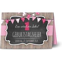 Einladungskarten Geburtstag, glänzendes feinstpapier, standard umschläge gestalten, age 1, Wimpel, Holz, Mädchen, A5, klappkarte, Optimalprint