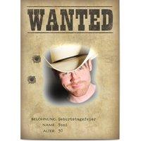 Einladungskarten Geburtstag, glänzendes feinstpapier, standard umschläge gestalten, Fotokarte (1 Foto), Cowboy, Poster, A6, flach, Optimalprint