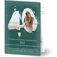 Einladungskarten Geburtstag, glänzendes feinstpapier, standard umschläge gestalten, Fotokarte (1 Foto), 40, Spritzer, A6, klappkarte, Optimalprint
