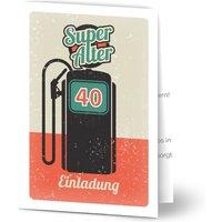 Einladungskarten Geburtstag, glänzendes feinstpapier, standard umschläge gestalten, Fotokarte (1 Foto), 40, Auto, A6, klappkarte, Optimalprint