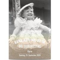 Einladungskarten Geburtstag, glänzendes feinstpapier, standard umschläge gestalten, Fotokarte (1 Foto), 80, vintage, weiß, A6, flach, Optimalprint