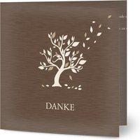Trauerkarten Danke, glänzendes feinstpapier, standard umschläge gestalten, Kein Foto, Baum, braun, quadratisch, klappkarte, Optimalprint