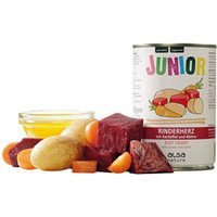 alsa-nature JUNIOR Rinderherz mit Kartoffel & Möhre Nassfutter, Anzahl: 6 x 400 g, 400 g, Hundefutter nass