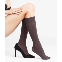 FALKE Pure Matt 50 DEN Women Knee-high Socks, 39-42, Grey, Block colour