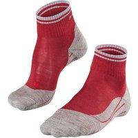 FALKE TK5 Short Stripe Women Trekking Socks, 35-36, Red, Virgin Wool