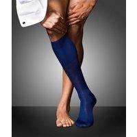 FALKE No. 9 Pure Fil d'Ecosse Gentlemen Knee-high Socks, Men, 45-46, Blue, Block colour, Cotton