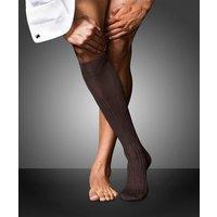 FALKE No. 13 Finest Piuma Cotton Gentlemen Knee-high Socks, Men, 47-48, Brown, Block colour, Cotton
