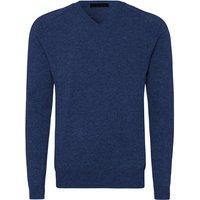 FALKE Men Pullover V-neck, 46, Blue, Block colour, Cashmere
