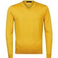FALKE Men Pullover V-neck, 46, Yellow, Block colour, Virgin Wool