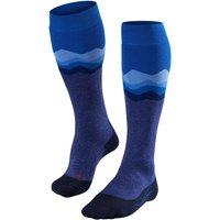 FALKE SK2 Crest Women Skiing Knee-high Socks, 41-42, Blue, Other pattern, Virgin Wool