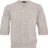 FALKE Men Pullover Round-neck, 44-46, Beige, Structure, Linen