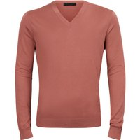 FALKE Men Pullover V-neck, 54, Red, Block colour, Cotton