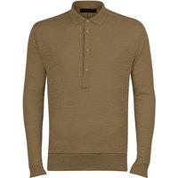 FALKE Men Pullover Polo, 50, Green, Block colour, Linen