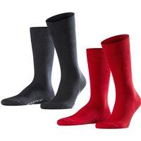 FALKE Cool 24/7 2-Pack Men Socks, 41-42, Red, Block colour, Cotton