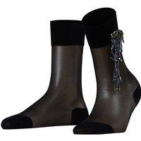FALKE Sequin Brooch Women Socks, 39-40, Black, Block colour, Cotton
