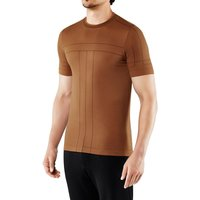 FALKE Basic Men T-Shirt Round-neck, S, Brown, Block colour