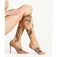 FALKE Cabal 20 DEN Women Knee-high Socks, 35-38, Brown, Motif