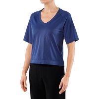 FALKE Modest Women T-Shirt V-neck, XS, Blue, Structure
